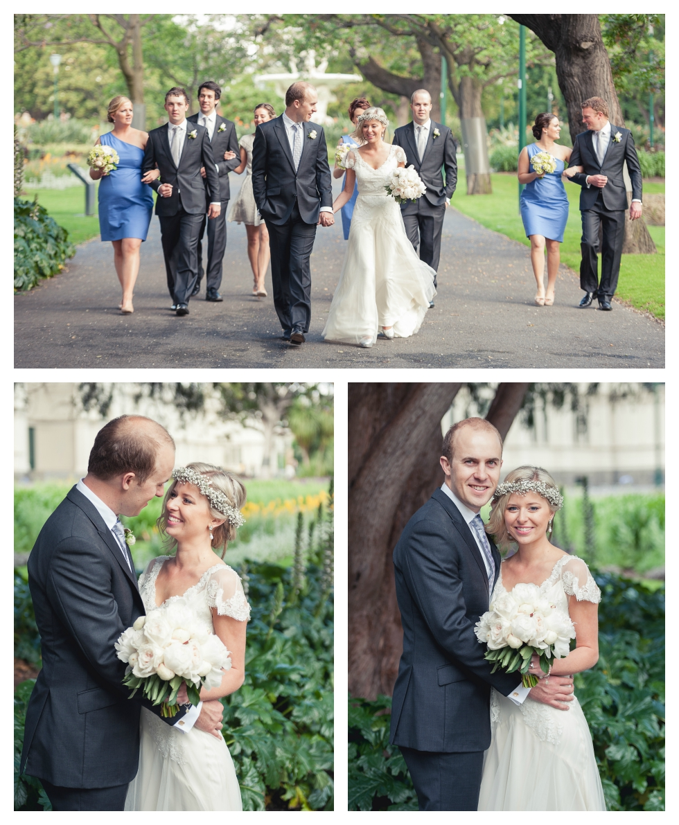 bridal party photos, cartlon gardens, melbourne wedding