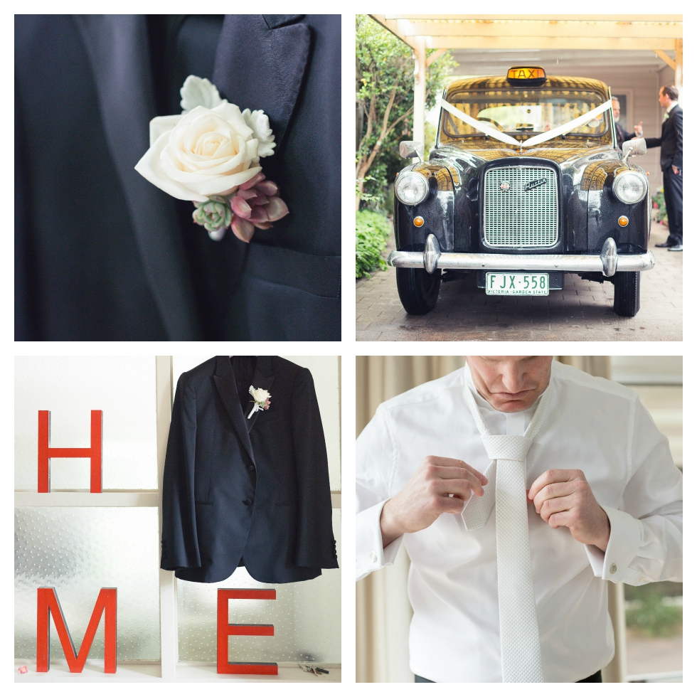 english cab bridal car, buttonhole, melbourne wedding photographer